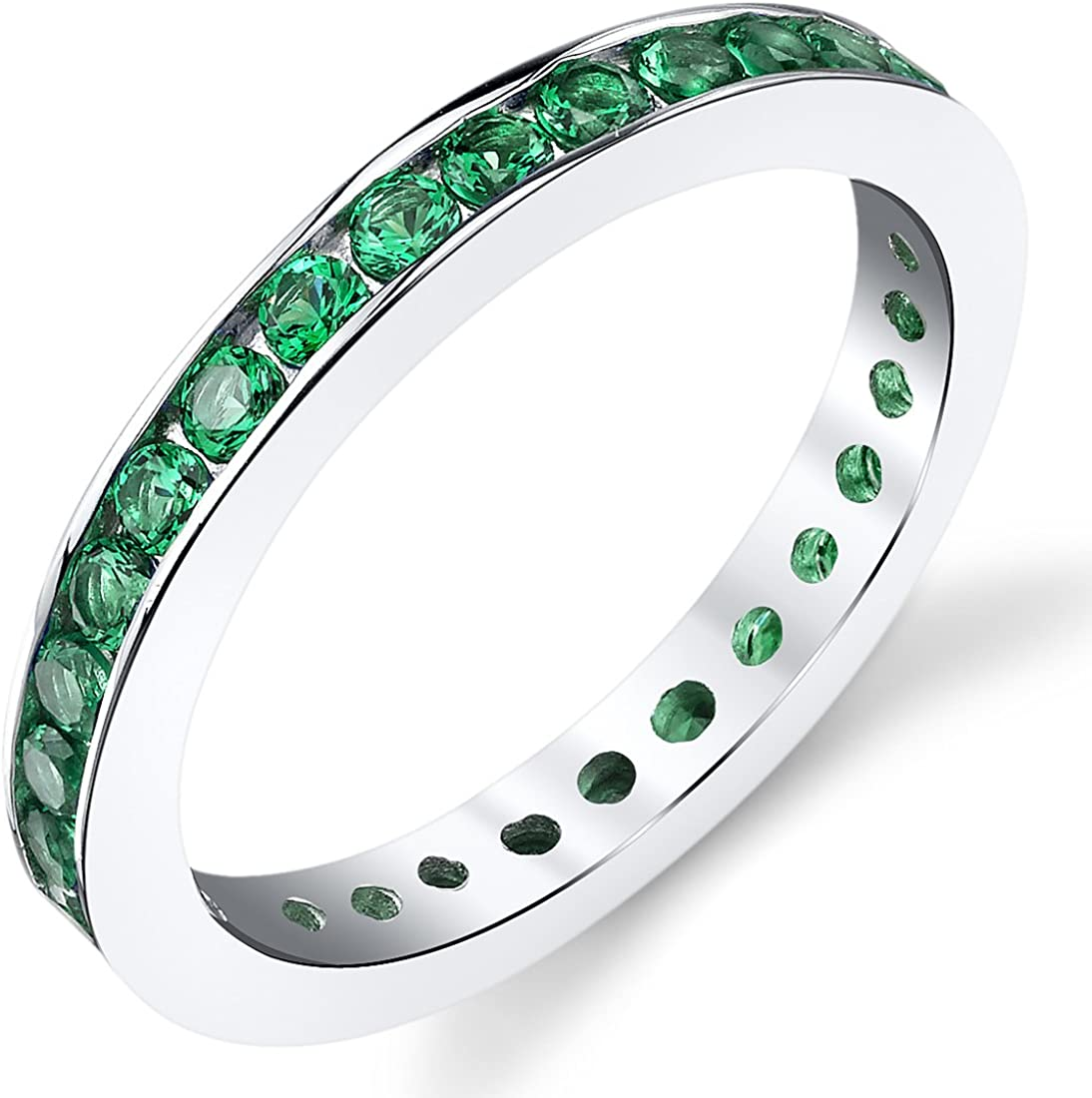 Peora Simulated Emerald Eternity Ring Band for Women in Sterling Silver, 1.50 Carats total, Sizes 5-9