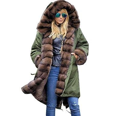 KaloryWee 2018 Damen Frauen Faux Pelz Winter Jacke Parka mit