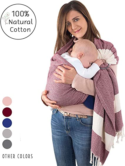Extra Soft 100/% Natural Cotton Best Baby Shower Gift Handwoven Baby Ring Sling Carrier Violet Nursing Cover Toddler Eco-Friendly Lightweight Sling for Newborn Sling Wrap Carrier Infant