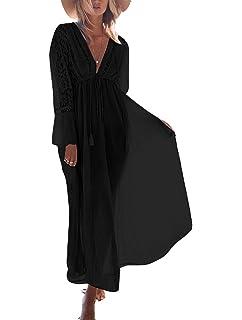 3bb496379ebce6 ASSKDAN Damen Spitze Strandkleid Lang V-Ausschnitte Langarm Hohe Taille  Sommerkleid Mit Gürtel