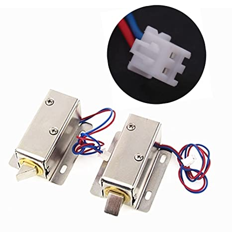 amazon com: solenoid electric lock, dc 12v mini electric control lock  tongue latch assembly solenoid for file cabinet drawer door: office products