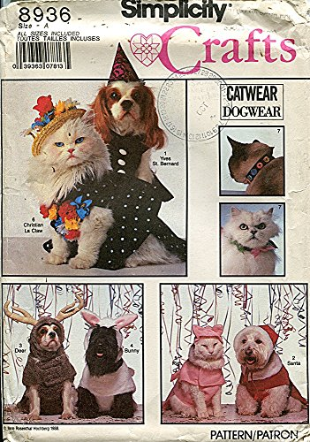 Simplicity Crafts Pattern 8936 Dog and Cat Costumes and Cat Collars, All Sizes -