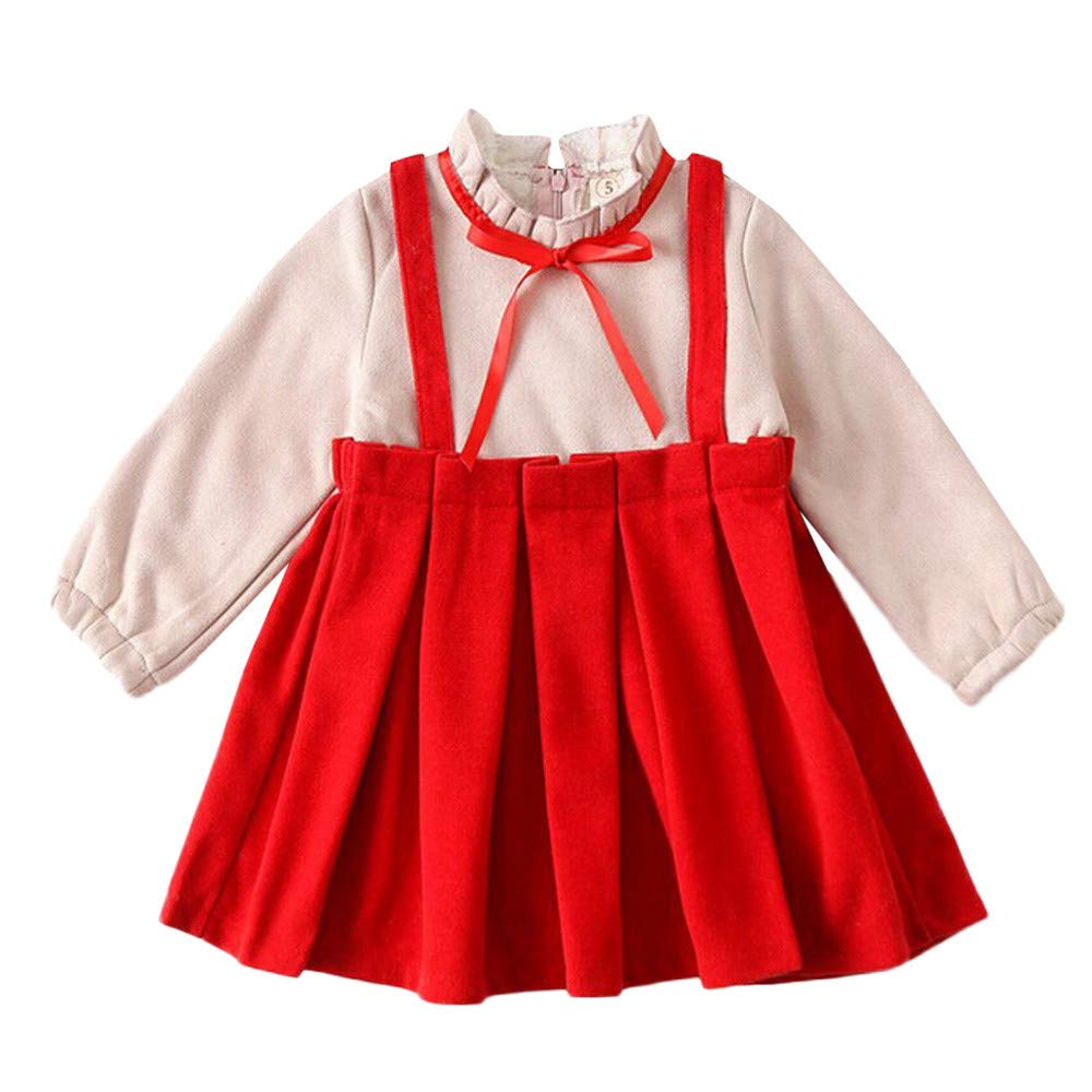 Geetobby Children Girl Bow Dress Long-Sleeved Thick Skirt Princess Party Casual
