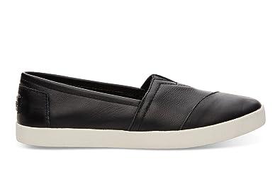 premier coup d'oeil réflexions sur sur des pieds à TOMS Cuir Femme Avalon Slips-on Noir 10006231 (Taille : 9.5 ...