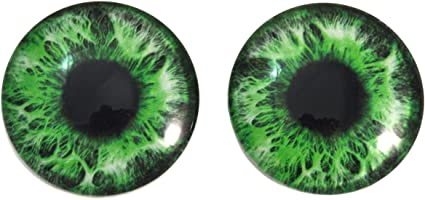 """1/"""" Green Eyes Human Doll Realistic Glass Taxidermy Eyeballs 25mm"""
