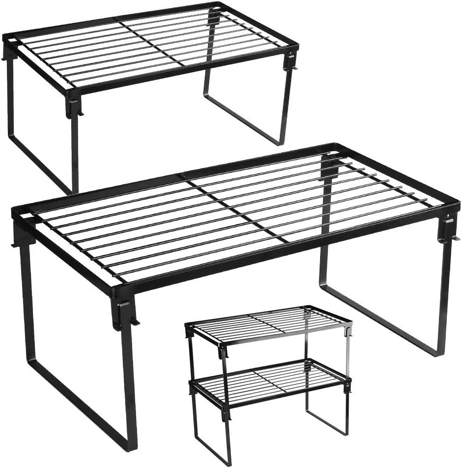 [2 Pack] Stackable Kitchen Storage Shelf Rack, Foldable Spice Rack Cabinet Organization Storage Shelves, Kitchen Shelves, Kitchen Counter & Cabinet Shelf Organizer,