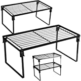 [2 Pack] Stackable Kitchen Storage Shelf Rack, Foldable Spice Rack Cabinet Organization Storage Shelves, Kitchen Shelves, Kit