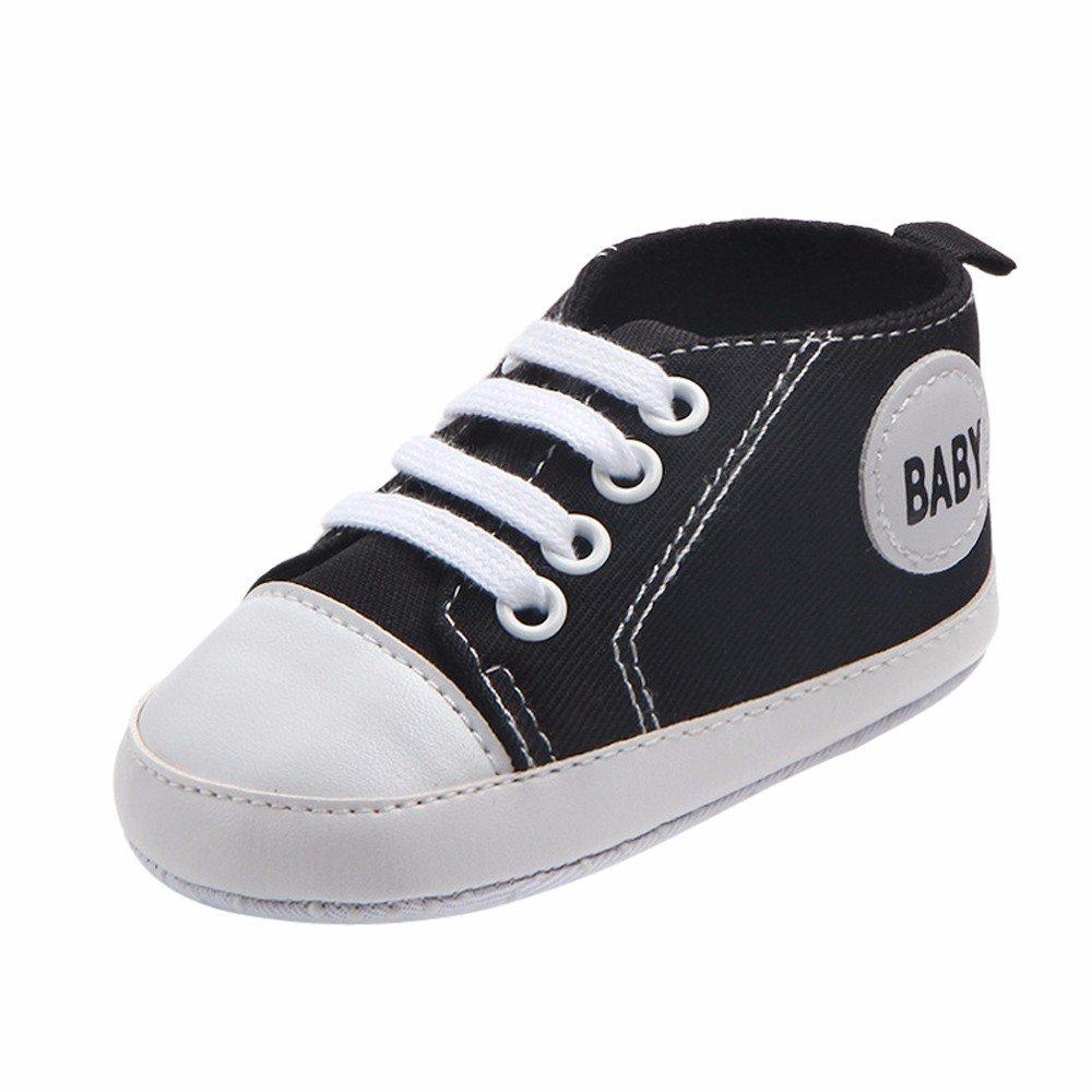 Creazrise Unisex Baby Boys Girls Star High Top Sneaker Soft Anti-Slip Sole Newborn Infant First Walkers Canvas Denim Shoes Black