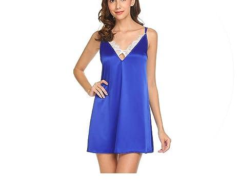 ba103f85a Women Sexy Lingerie Night Dress Chemise Nightgown Adjustable Strap Sleepwear  Satin Lace Slip Home