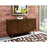 Walker Edison W60CMCWT 60'' Mid-Century Modern Wood TV Console - Walnut
