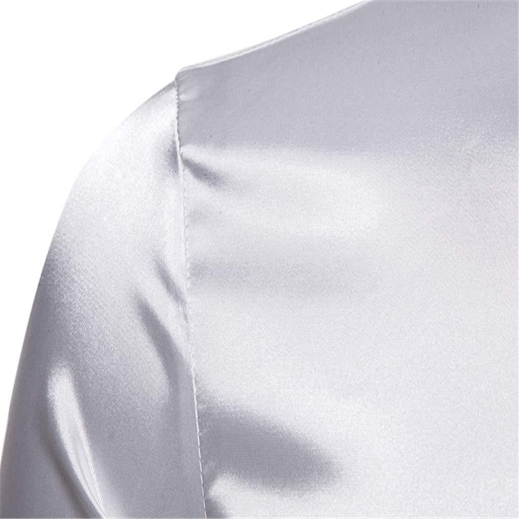 TEVEQ Stylish Mens Glossy Shirt Casual Fashion Long Sleeve Collar Top Blouse