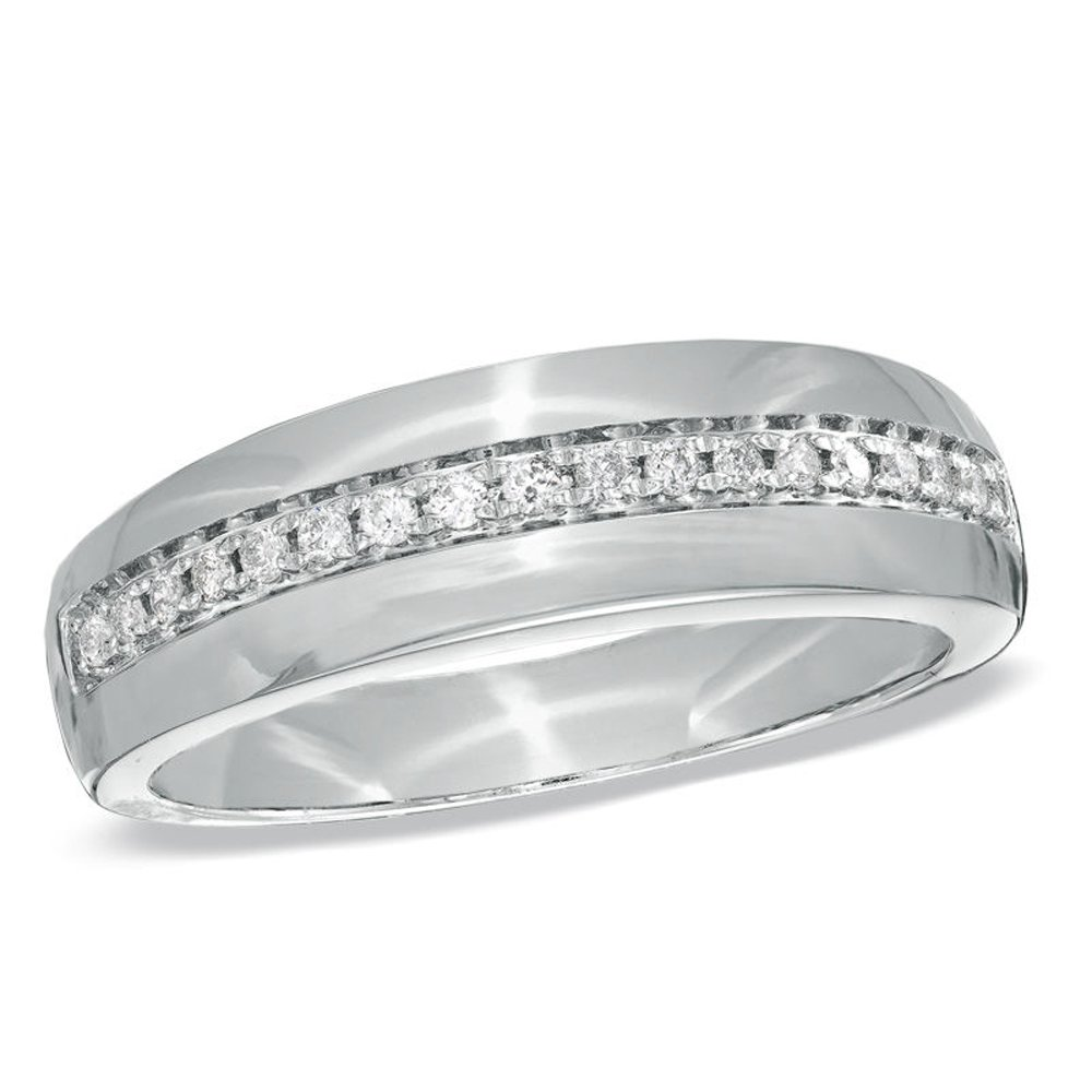 Silvernshine Jewels 0.2 Cts Round D/VVS1 Diamond Wedding Band Ring With 14K White Gold Finish Silver