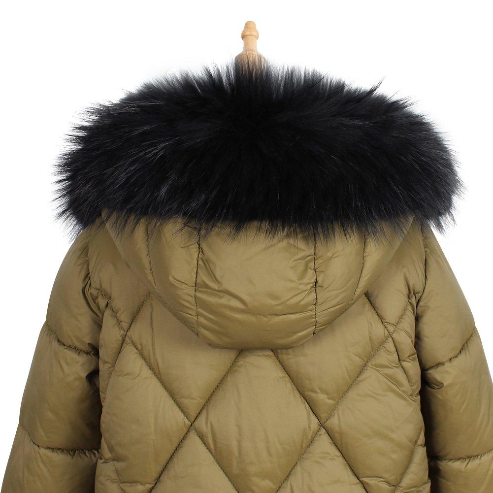 Roniky Womens Mens Trim Hood Faux Fake Fur Hood for Jacket Ski Scarf Neck Warmer Collar Wrap Shawl (Raccoon Black)