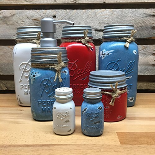 (White, Red, and Blue Mason Jar Canister Set with Soap Dispenser and salt and Pepper Shakers, Vintage Ball Perfect Mason Jars, Rustic Farmhouse Decor)