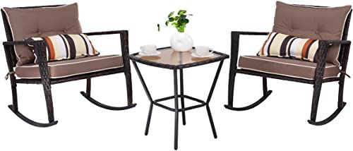 Tangkula AM1483HM Rocking Set 3 Piece Outdoor Patio Garden Poolside Wicker RATT