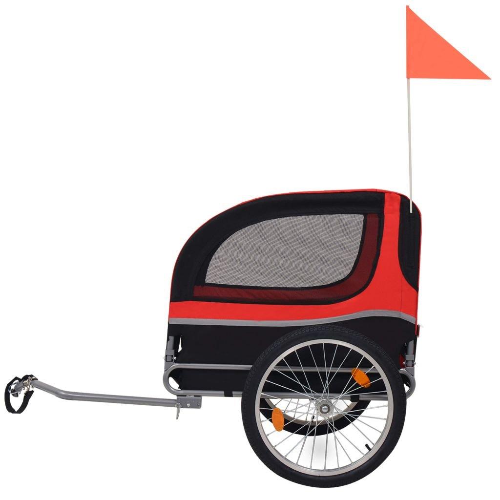 Festnight Outdoor Dog Bike Trailer Cargo Luggage Trailer Red and Black by Festnight (Image #2)
