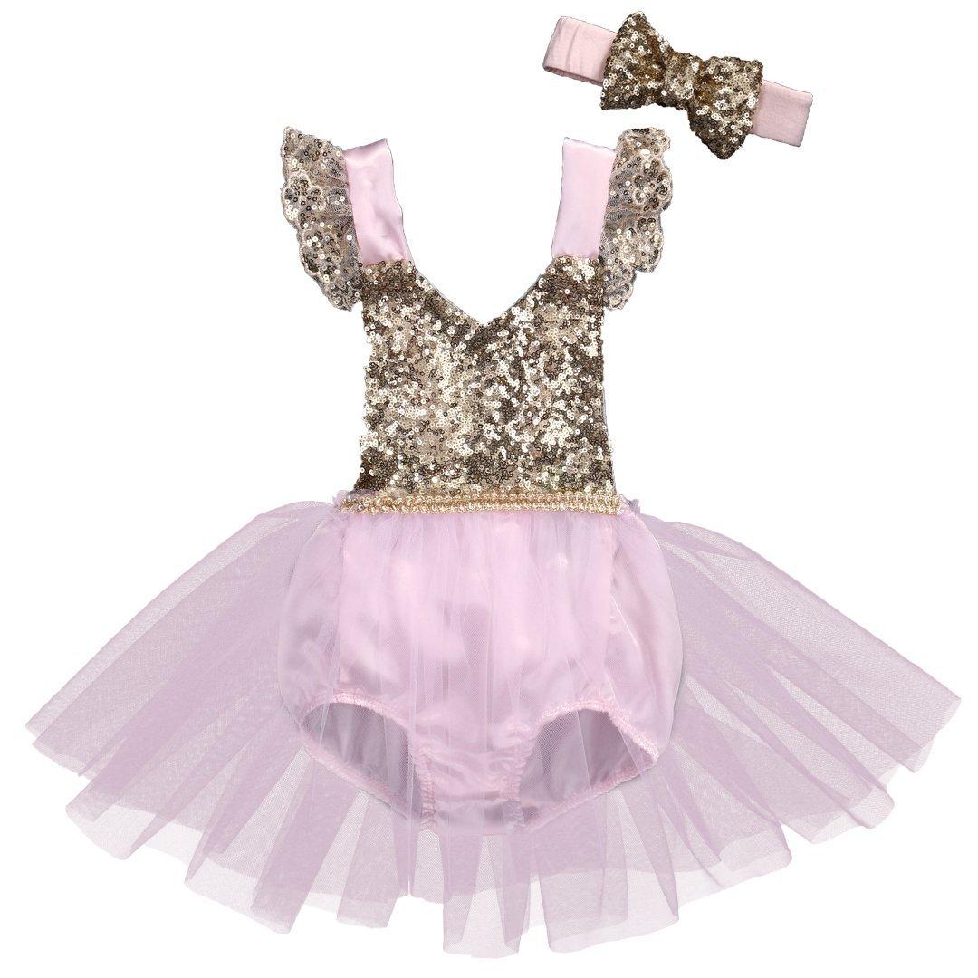 Newborn Kids Baby Girls Clothes Tulle Sequins Lace Jumpsuit Romper Onesie w//Headband Pink Gold 6-12 Months