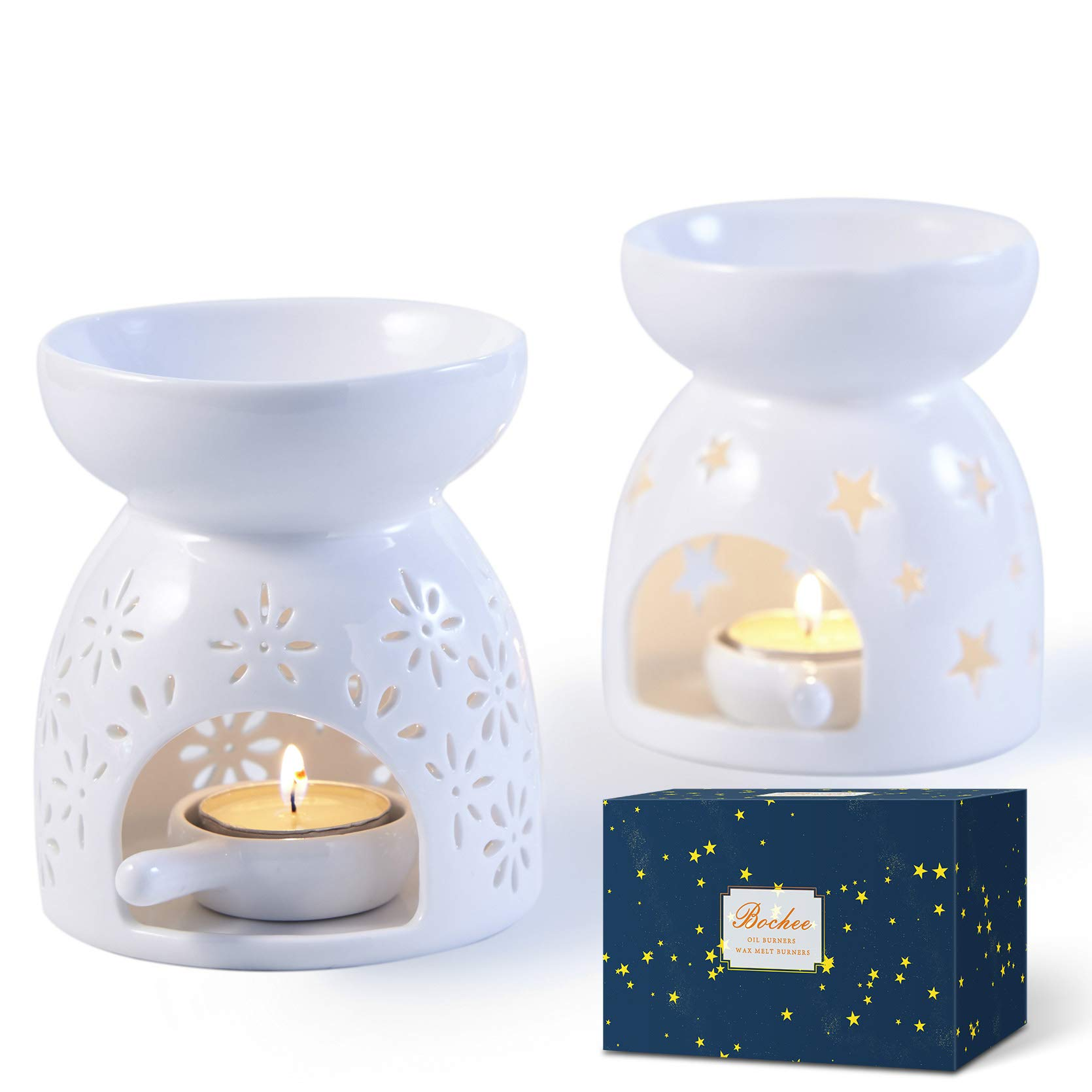 Tealight Wax Melt Burner BTSKY Flower Type Ceramic Essential Oil Burner with Candle Spoon Blue Decoration for Hotel//Bedroom Aromatherapy Diffuser for Yoga Spa Tealight Fragrance Warmer