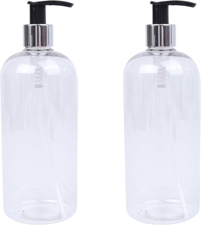 LUCEMILL 2 botellas de plástico transparente de 500 ml con dispensadores de loción plateado/negro - Reciclables