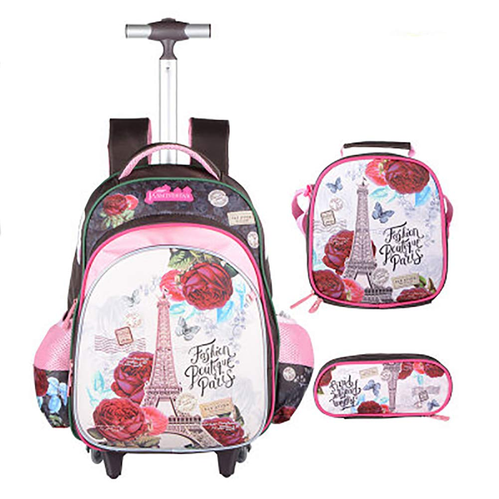 Meetbelify 3Pcs Rolling Backpack for Girls with Lunch Bag Pencil Case School Bags Wheeled Backpack by Meetbelify
