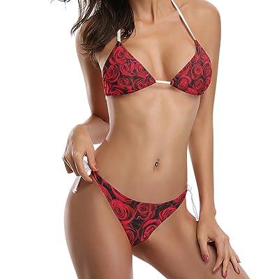 ALAZA U Life Red Roses Bikini Bra Sets Women Swimsuit Swimwear