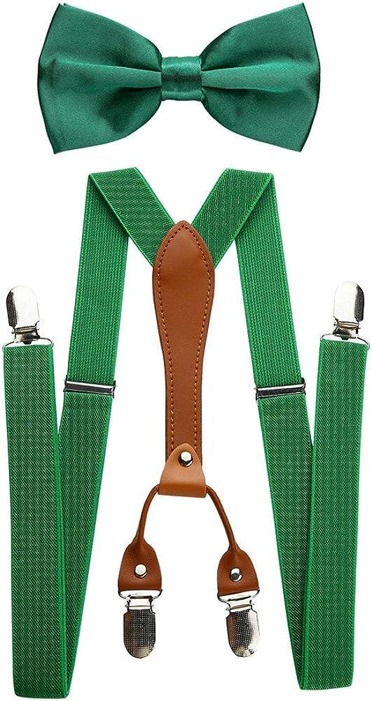 Mens Adjustable Elastic Suspenders y Bow Tie Set