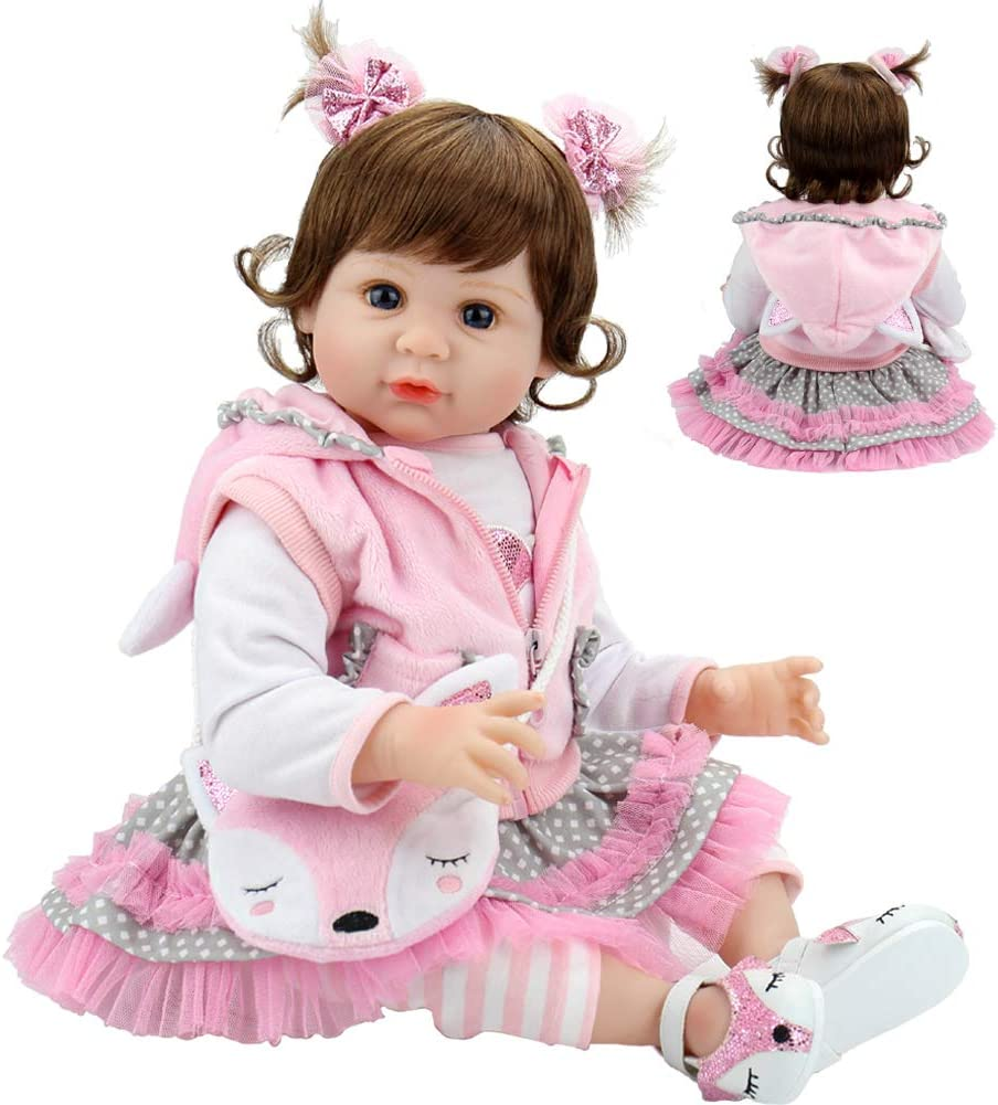 Aori Realistic Reborn Baby Doll 22 Inch Lifelike Real Baby Doll Weighted Baby Girl with Fox Gift Set