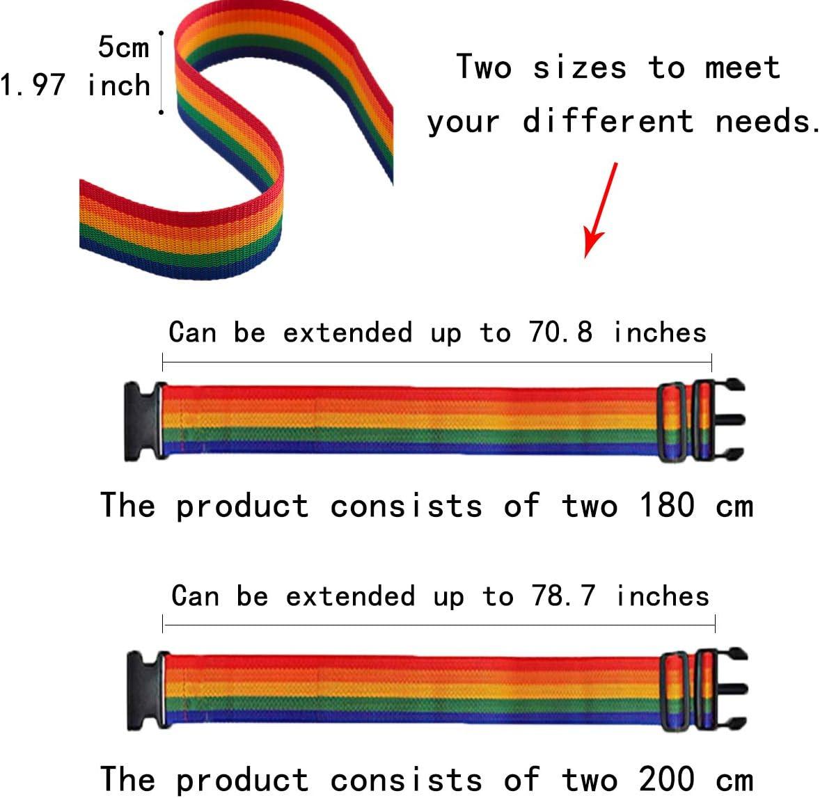 cinturones de seguridad para equipaje Correa de equipaje para maleta 4 x correas de equipaje arcoiris correa de embalaje de viaje ajustable BOJLY