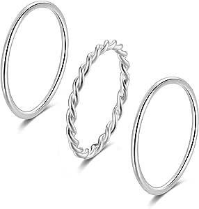 SILBERTALE تويست حبل خواتم المفاصل مجموعة للنساء الفضة الاسترليني رقيقة الرص بينكي الإبهام خواتم الاصبع المتوسطة الزفاف الفرقة الراحة تناسب الحجم 2.5-8.5