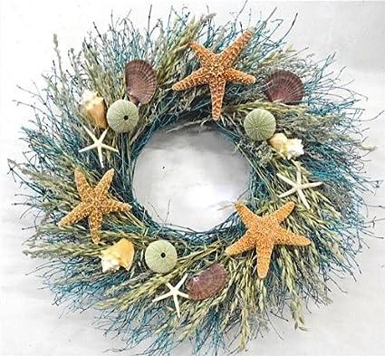 walk on the beach summer door wreath sea shells starfish for coastal cottage kitchen decor use - Beach Christmas Wreath
