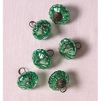 Luna Bazaar Mini Mercury Glass Ornaments (Lucy Design, 1-Inch, Vintage Green, Set of 6) - Vintage-Style Decorations