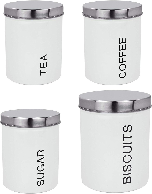 Blanc /& Gris Émail Thé Café Sucre Stockage Pots Boîtes Cuisine Boîtes Set