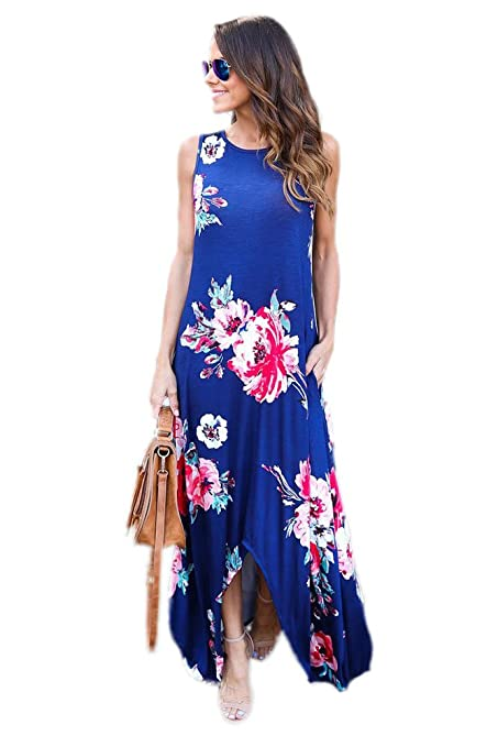 Vestido de fiesta con estampado floral azul para vacaciones, maxi boho, vestido de fiesta