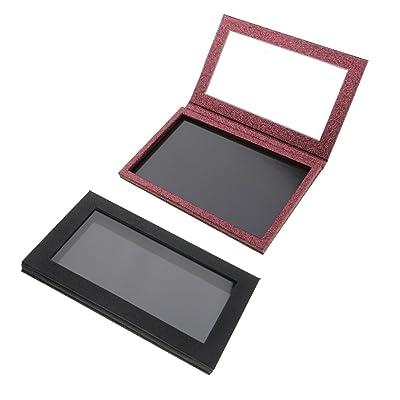 Gazechimp 2 Piezas Caja Contenedora de Paleta Magnética Vacía Roja para Maquillaje Polvo de Sombra de Ojos Grande