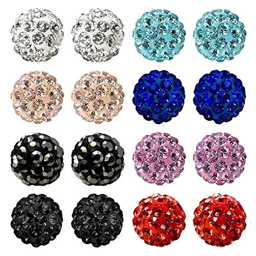 JewelrieShop Rhinestones Crystal Ball Stud Earrings Set Fireball Disco Ball Pave Bead Earrings Hypoallergenic for Teen Girls Women (Set A. 6mm x 8 Pairs...