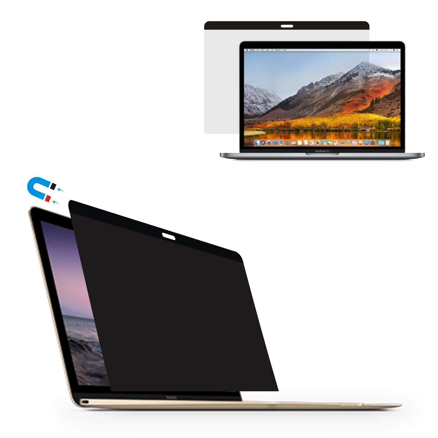 Accgonon Automatic Adsorption Laptop Privacy Screen Protectors Filter for MacBook Pro 13-inch (2012-mid 2015 Version,Model:A1502 and A1425) Anti-Glare Anti-Spy Scratch and UV Protection Easy On/Off by ACCGONON (Image #1)