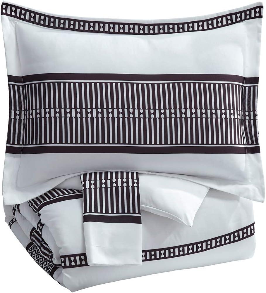 Signature Design by Ashley Masako Queen Comforter, Black/Cream
