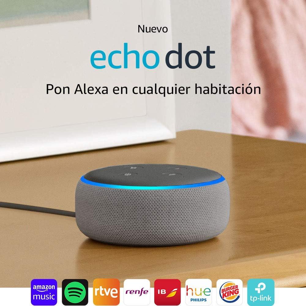 Echo Dot (3.ª generación) Reacondicionado Certificado - Altavoz inteligente con Alexa, tela de color gris oscuro: Amazon.es