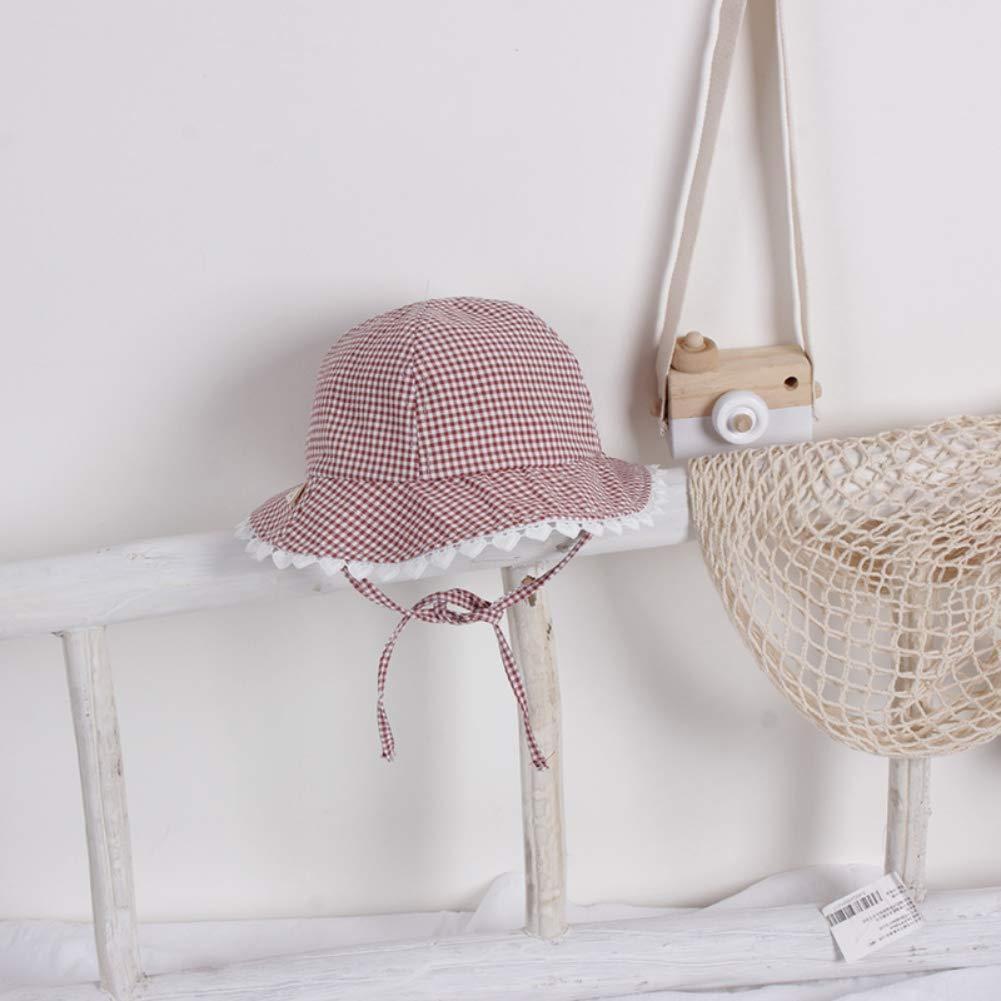 URMAGIC Baby Girls Spring Hats Plaid Print Lace Wide Brim Fisherman Hats Girls Sun Hats Yellow Red