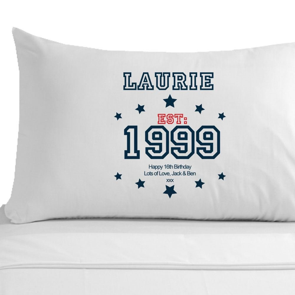 Personalised 16th Birthday Pillowcase, Established Since (year) for ...