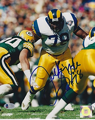 Jackie Slater Signed LA Rams 8x10 Photo with - Beckett Certified