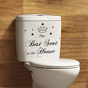 BIBITIME Toilet Stickers Funny The Best Seat in The House Bathroom Vinyl Quote Home Art Mural