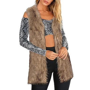 Luckycat Mujeres cálida Chaqueta de Abrigo Engrosamiento Piel sintética Fox visón Parka Outwear Cardigan Chaleco: Amazon.es: Ropa y accesorios