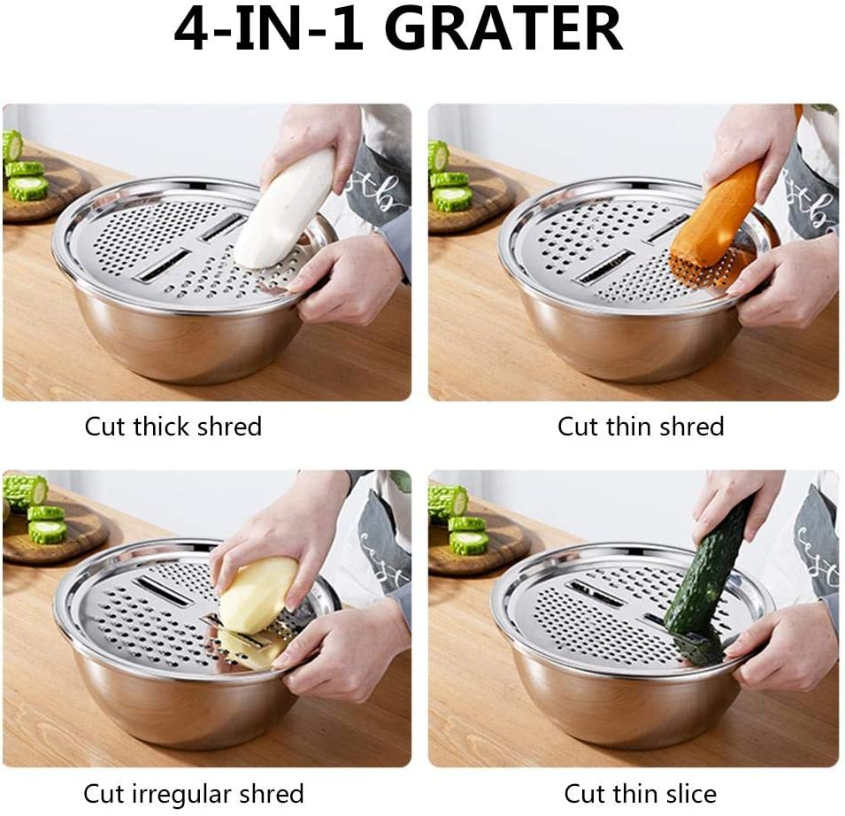Rice Washing Bowl for Vegetables Potatoes 3PCS Kitchen Graters with Stainless Steel Drain Basin and Mixing Bowl Multi-Function 3-in-1 Cheese Grater