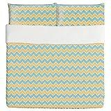 Geometric Zigzag Duvet Bed Set 3 Piece Set Duvet Cover - 2 Pillow Shams - Luxury Microfiber, Soft, Breathable