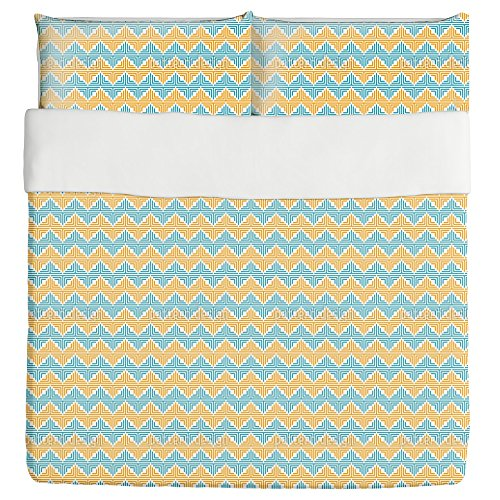 Geometric Zigzag Duvet Bed Set 3 Piece Set Duvet Cover - 2 Pillow Shams - Luxury Microfiber, Soft, Breathable by uneekee