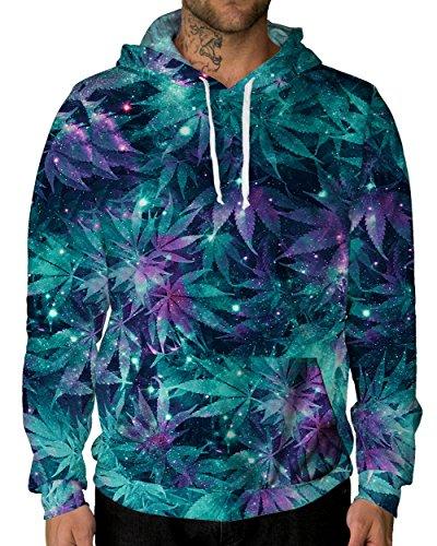 iHeartRaves Ganja Galaxy Premium All Over Print Hoodie (XX-Large) - High Society Jacket
