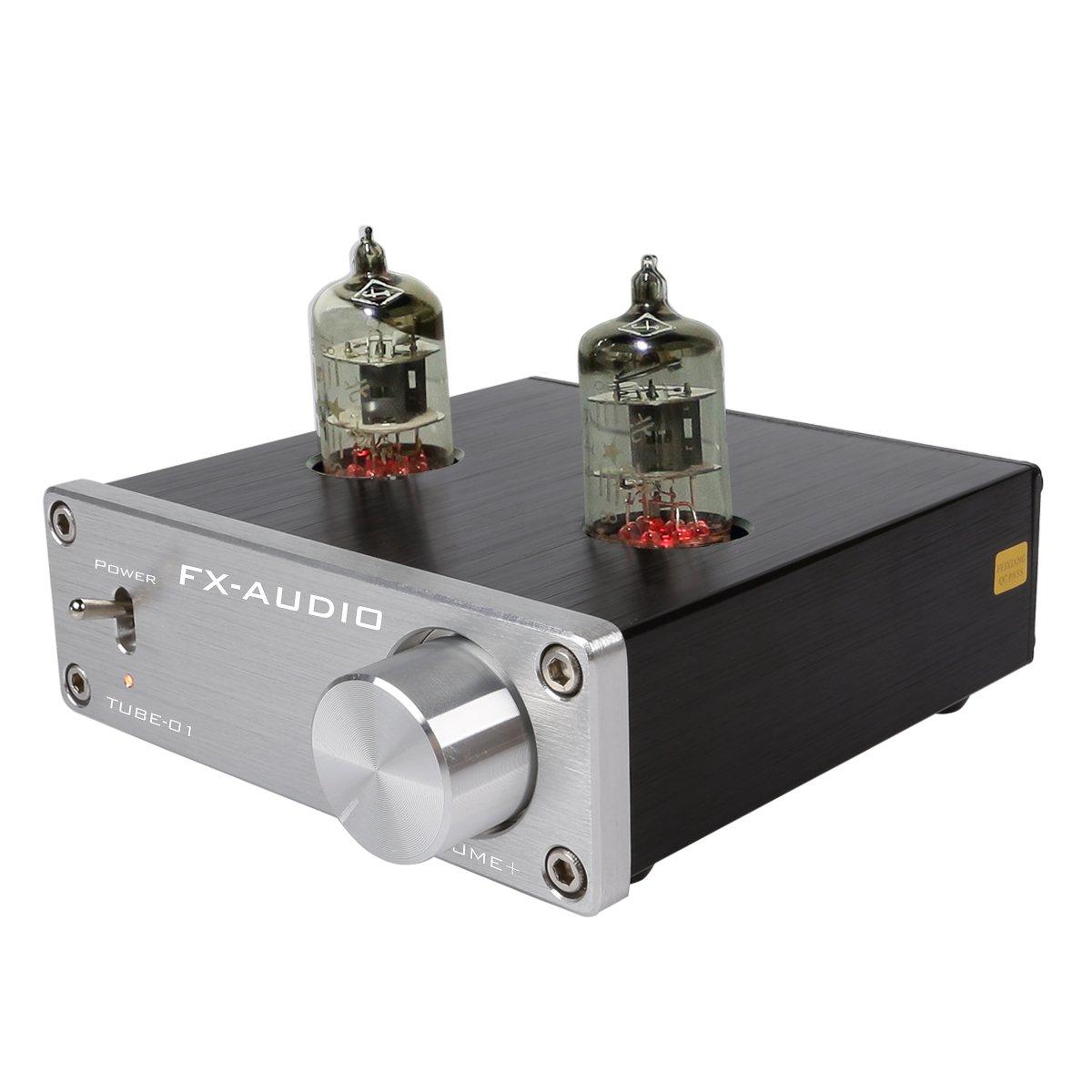 JouerNow FX Tube-01 Pre-Amplifier HIFI Stereo Buffer Preamp, with Mini 6J1 Valve & Vacuum Tube, 12V (Silver)