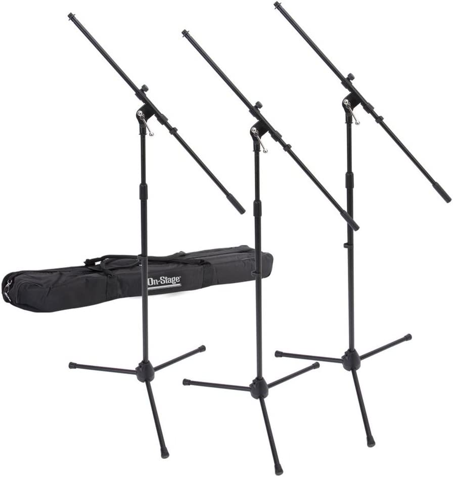 On-Stage MSP77033 Euroboom Microphone Stands with Travel Bag, 3 Pack