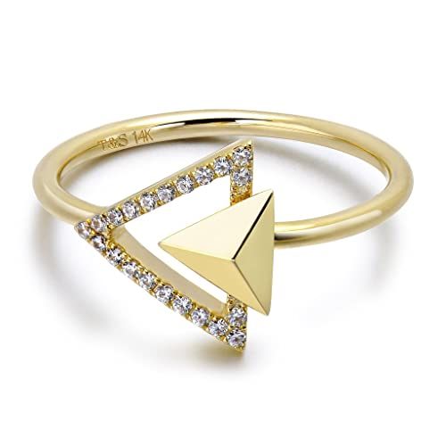 TARA Legacy 14k Gold Triangle Diamond Stud Ring (0.10cttw, G-H Color, SI1-SI2 Clarity)